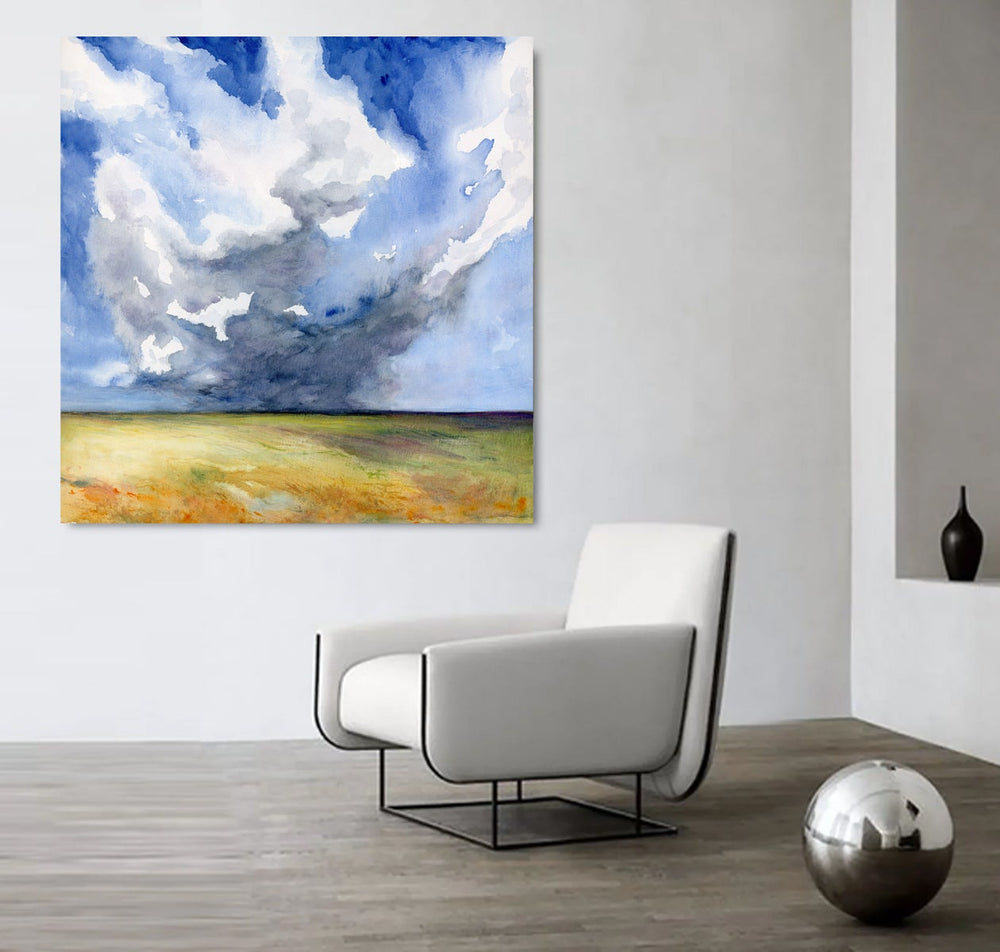 Head in the Clouds Prairie Landscape Watercolor Painting Art Print