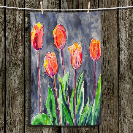 Large Cloth Napkins - Tulips Painting - Fine Dining Textiles