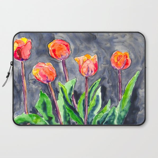Tulips Macbook Pro Laptop Case - Artistic Floral Printed Fabric Laptop Sleeve
