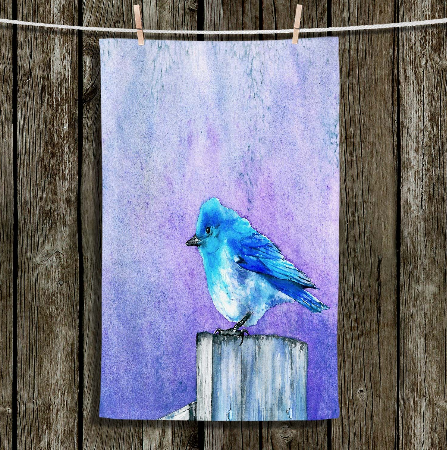 Bluebird Large Cloth Napkins - Wildlife Painting - Fine Dining Textiles