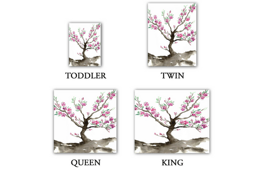 Sakura Tree Duvet Set Floral Painting - Nature Modern Bedding Duvet Cover - Brazen Design Studio