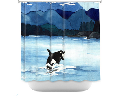 Orca Shower Curtain Watercolor Painting - Artistic Bathroom Decor