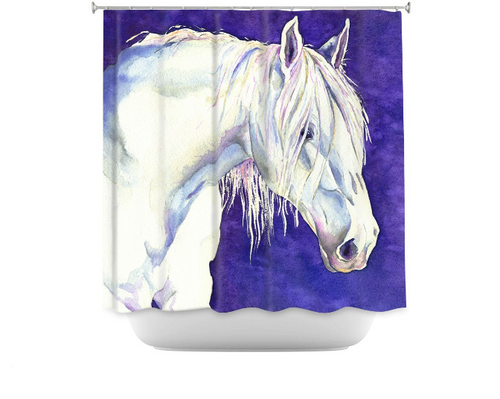 White Horse Shower Curtain Watercolor Painting - Artistic Bathroom Decor