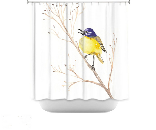 Yellow Wagtail Shower Curtain Watercolor Painting - Artistic Bathroom Decor