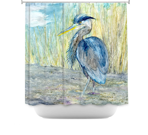 Great Blue Heron Shower Curtain Watercolor Painting - Artistic Bathroom Decor