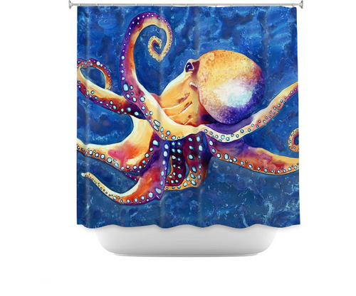 Octopus Shower Curtain Watercolor Painting - Artistic Bathroom Decor