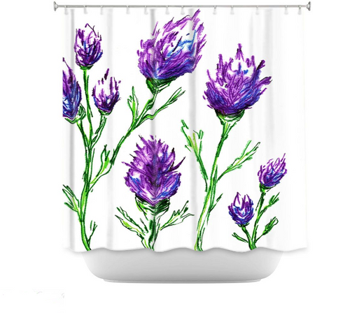 Clover Shower Curtain Watercolor Painting - Artistic Bathroom Decor