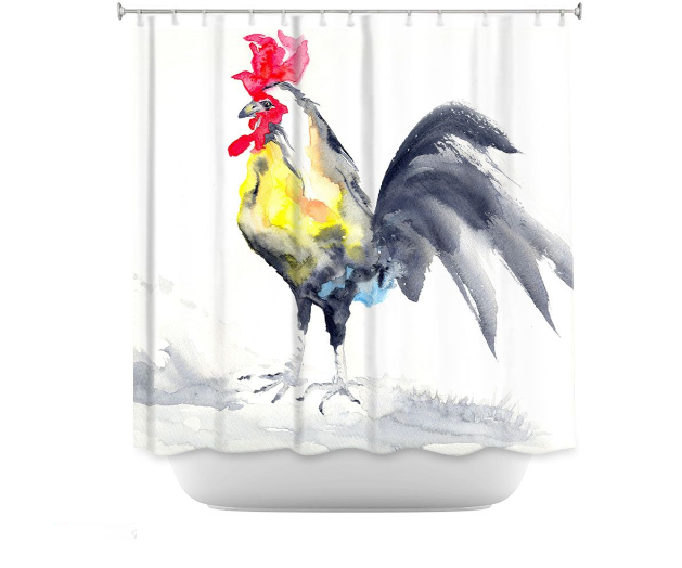Rooster Shower Curtain Watercolor Painting - Artistic Bathroom Decor