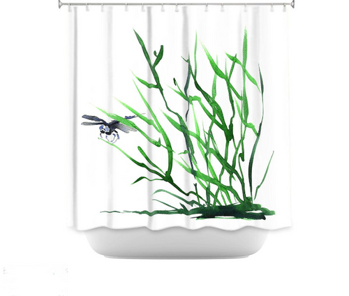 Dragonfly Shower Curtain Watercolor Painting - Artistic Bathroom Decor