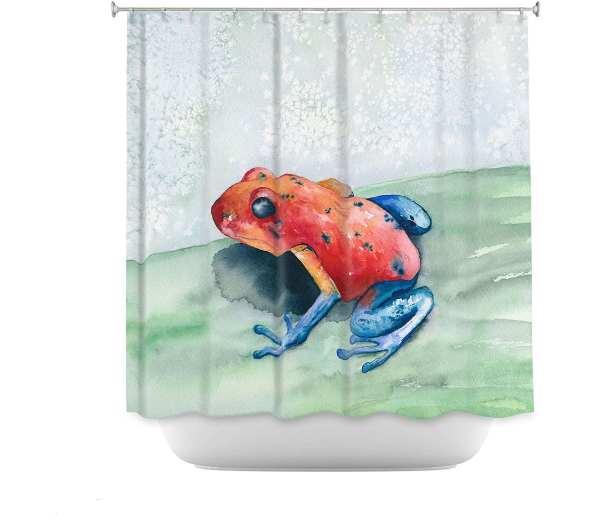 Blue Jean Frog Shower Curtain Watercolor Painting