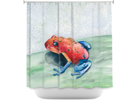 Blue Jean Frog Shower Curtain Watercolor Painting - Artistic Bathroom Decor