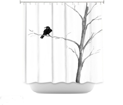 Raven Shower Curtain Watercolor Painting - Artistic Bathroom Decor