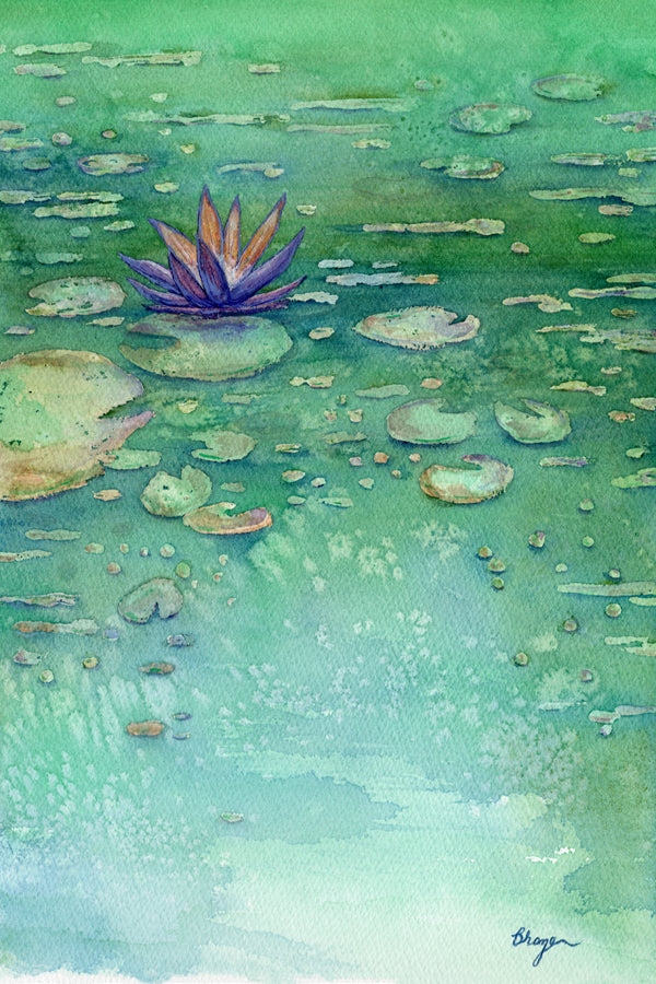 Lotus Garden - Waterlily Watercolor Painting