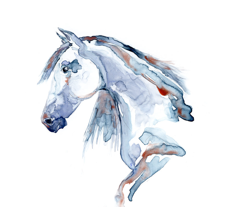 Wild at Heart Equine Watercolor Painting - White Horse Nature - Fine Art Print