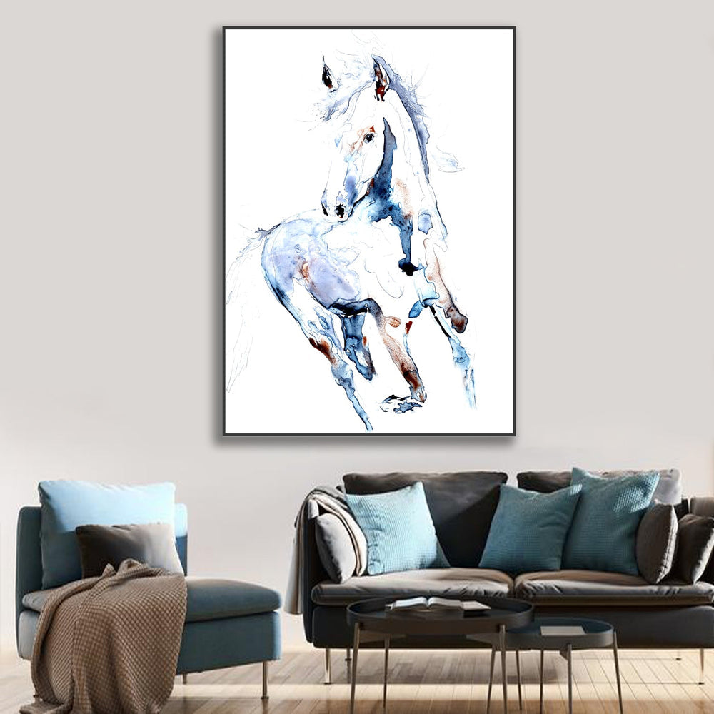 Dream State Equine Watercolor Painting - White Horse Nature - Fine Art Print