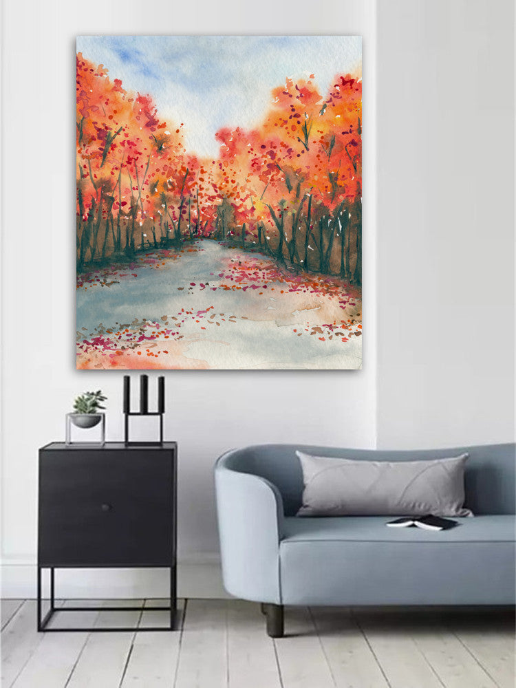 Watercolor Landscape Painting - Autumn Journey Fall Nature Landscape Woodland Scenic Art Print - Brazen Design Studio
