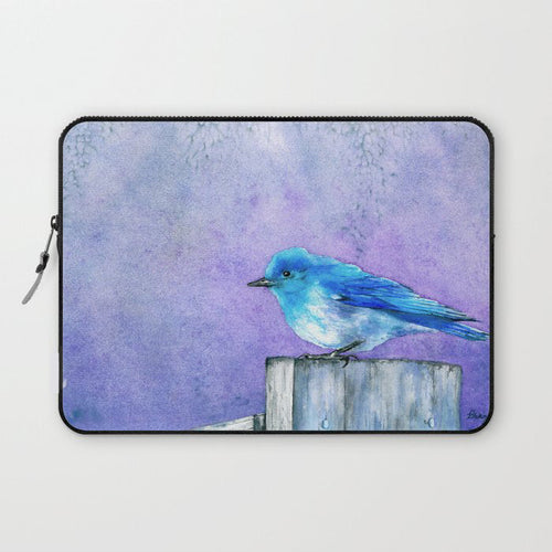 Bluebird Macbook Pro Laptop Case - Watercolor Painting - Printed Fabric Laptop Sleeve