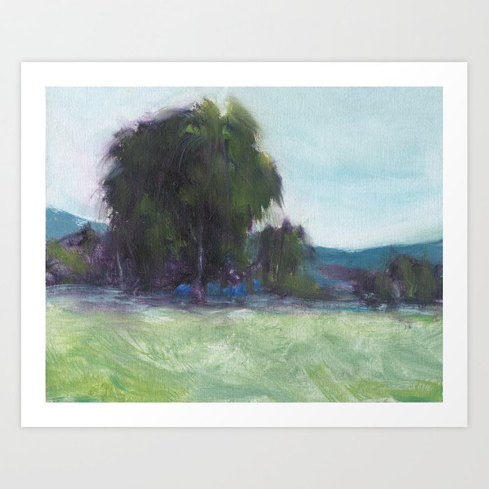 Weeping Willow - Oil Painting Landscape Nature Inspired Contemporary Art Print