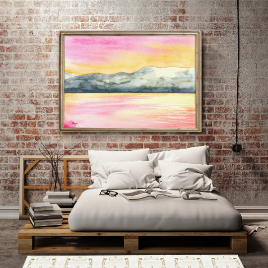 Okanagan Sunrise Watercolor Painting - Serene Water Seascape Art Print