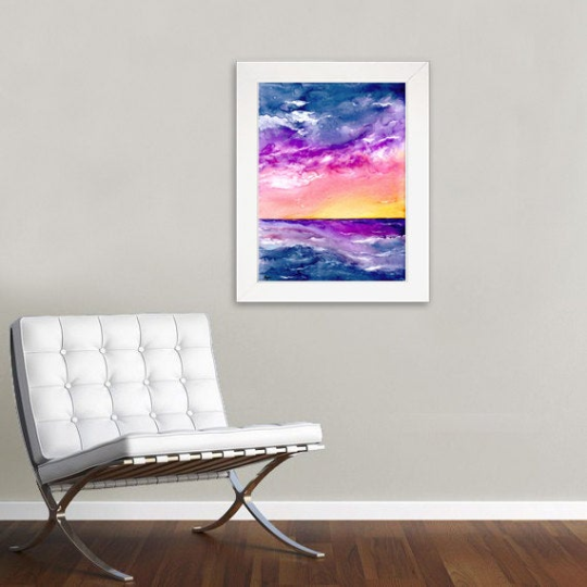 Tormenta Art Print - Sunset Seascape - Watercolor Painting