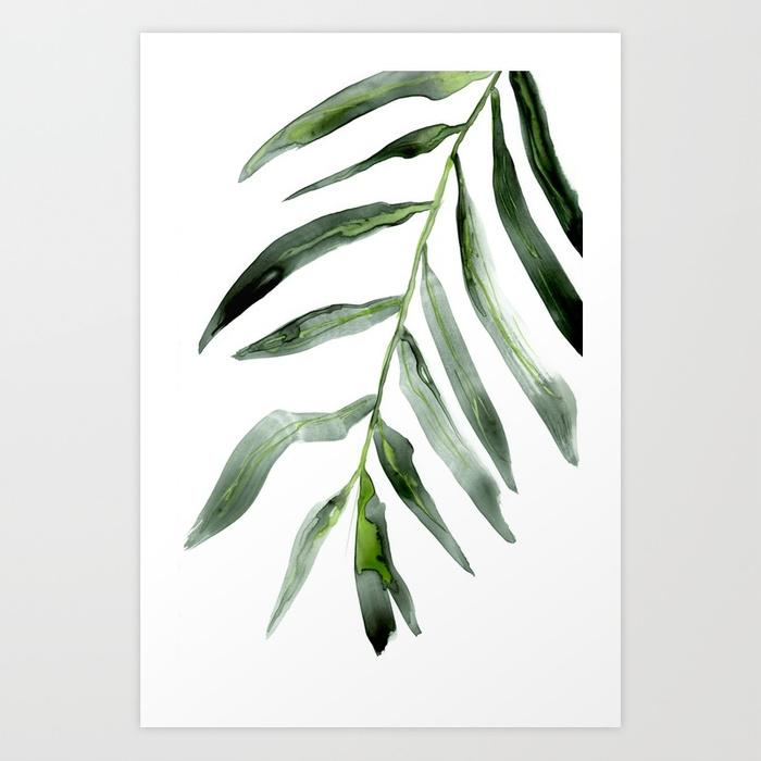 Palm Frond Watercolor Painting - Botanical Nature Art Print