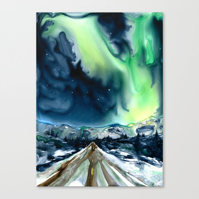 Aurora Borealis Northern Lights Landscape Watercolor Painting - Art Print