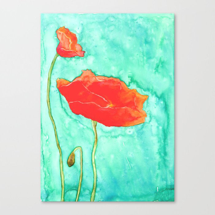 Poppy Trio Floral Watercolour Painting - Orange Poppy - Art Print
