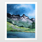 Serenity Watercolor Landscape Lake Mountain Painting - Scenic Art Print