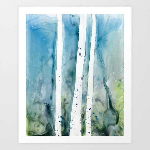 Watercolor Painting - Wavesong  - Abstract Seafoam Green and Blue Seascape Art Print