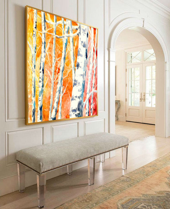 Watercolor Painting - Falling for Color - Birch Aspen Tree Art Print - Brazen Design Studio