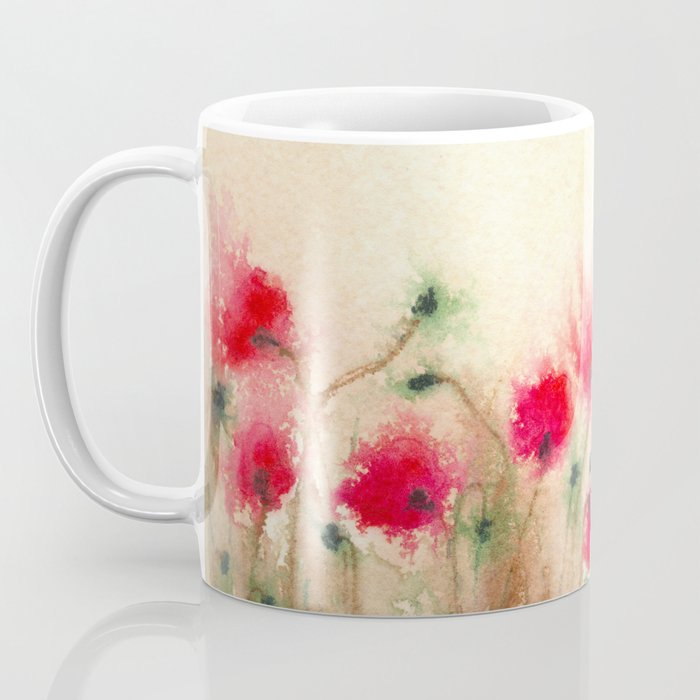Red Poppies Floral Coffee Mug - Kitchen Decor Mug Drinkware
