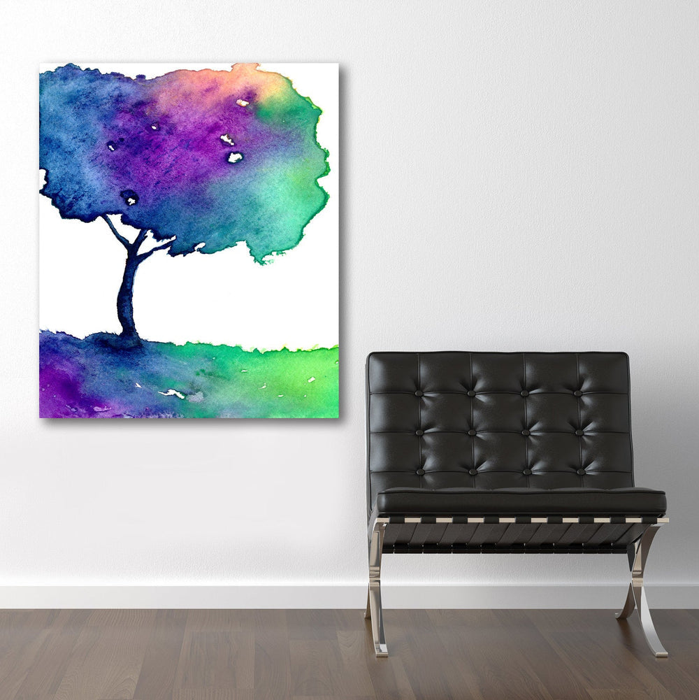 Watercolor Painting - Rainbow Hue Tree Modern Art Print - Brazen Design Studio
