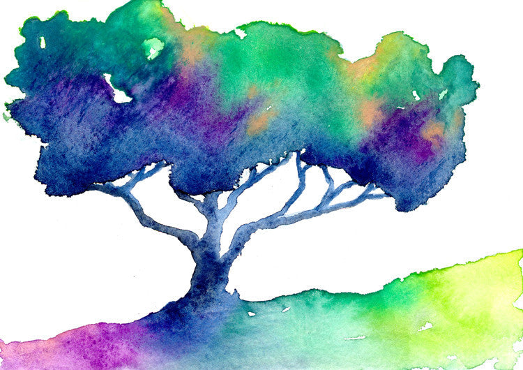 Watercolor Painting - Rainbow Oak Tree - Modern Contemporary Art Print - Brazen Design Studio