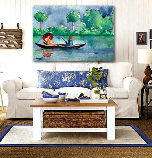 Watercolor Painting - Geisha Japanese Long Boat Seascape Art Print - Brazen Design Studio