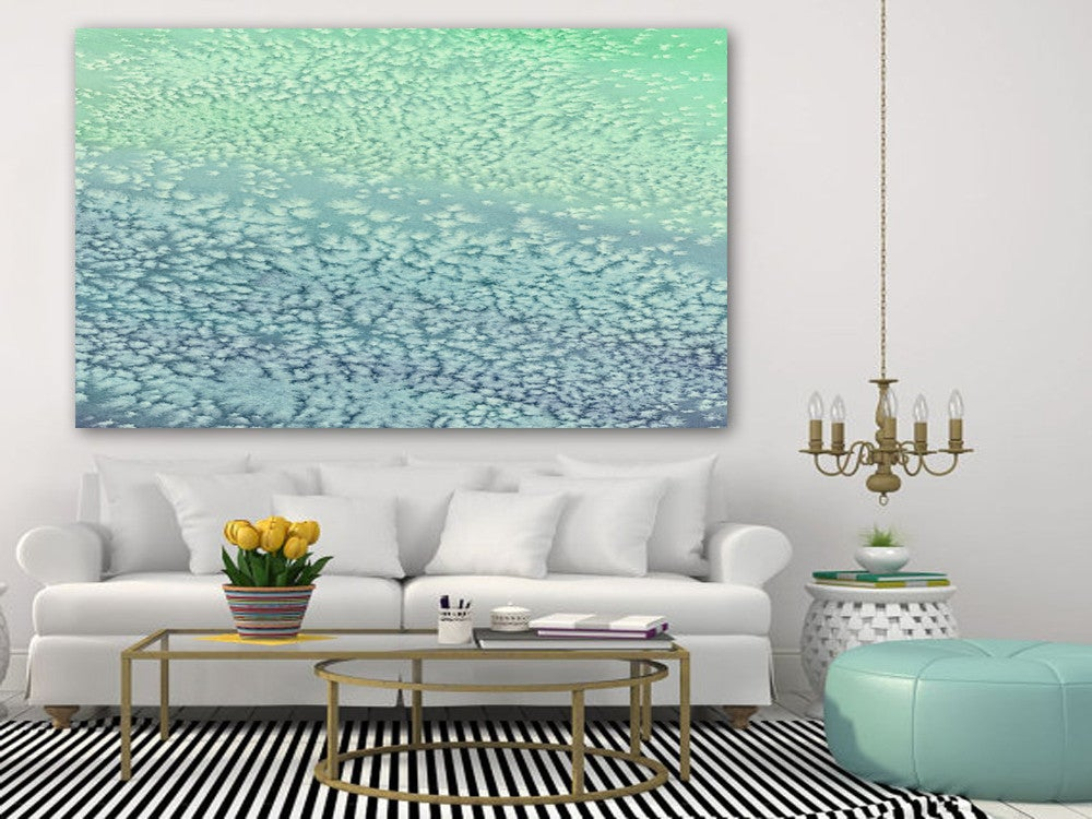 Watercolor Painting - Wavesong  - Abstract Seafoam Green and Blue Seascape Art Print - Brazen Design Studio