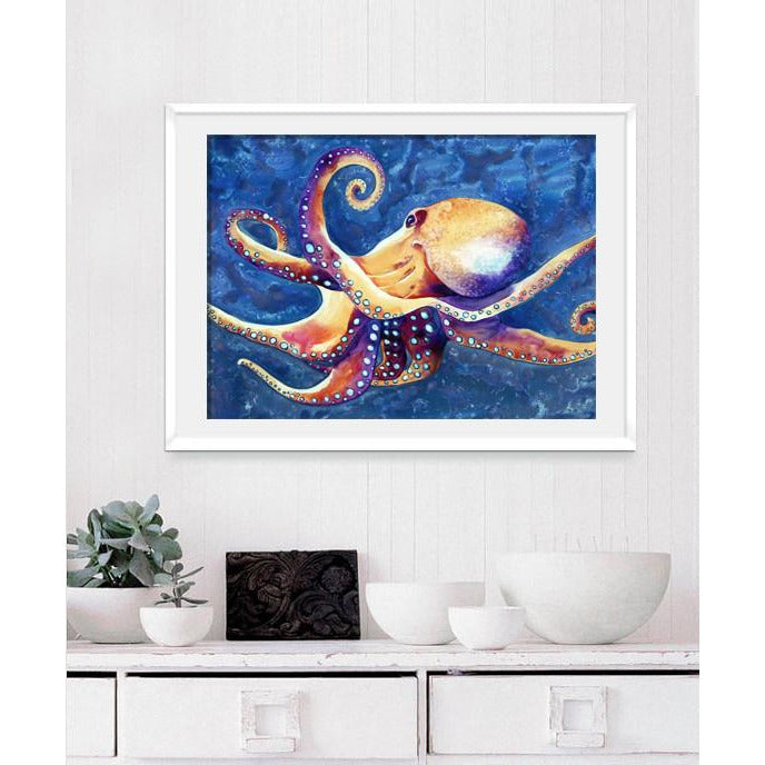 Octopus - Watercolor Painting on Yupo - Wildlife Ocean Art - Brazen Design Studio