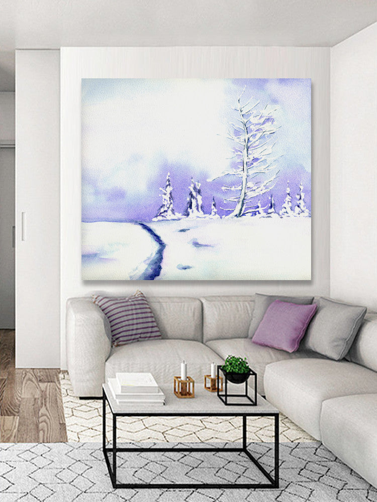 Watercolor Painting - Crystal Mountain Winter Landscape Art Print - Brazen Design Studio