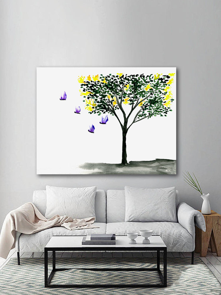 Watercolor Ink Painting - Butterflies Yellow Lilac Tree - Floral Sumi-e Art Print - Brazen Design Studio