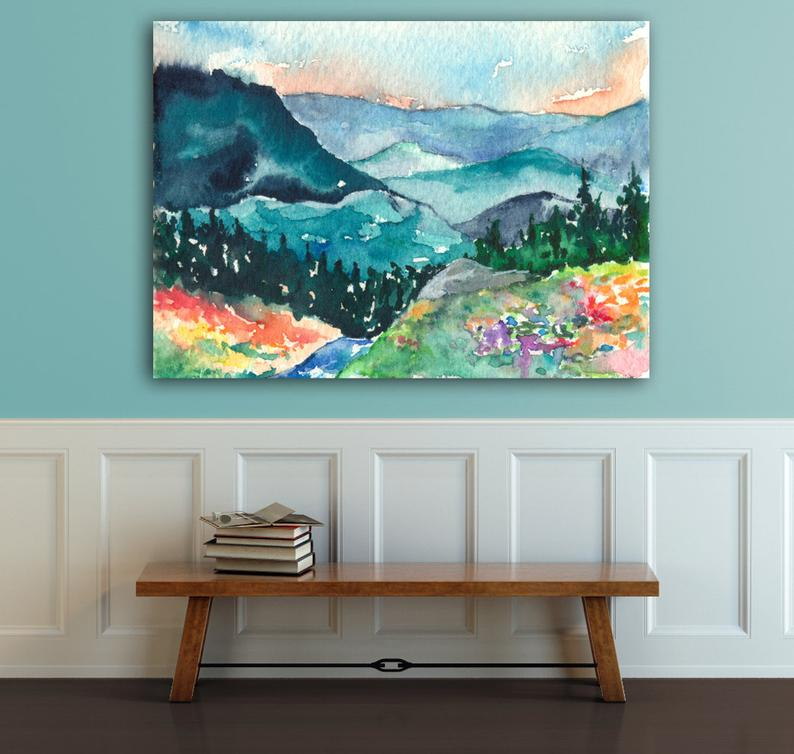 Valley of Dreams Watercolor Landscape Painting - Scenic Art Print