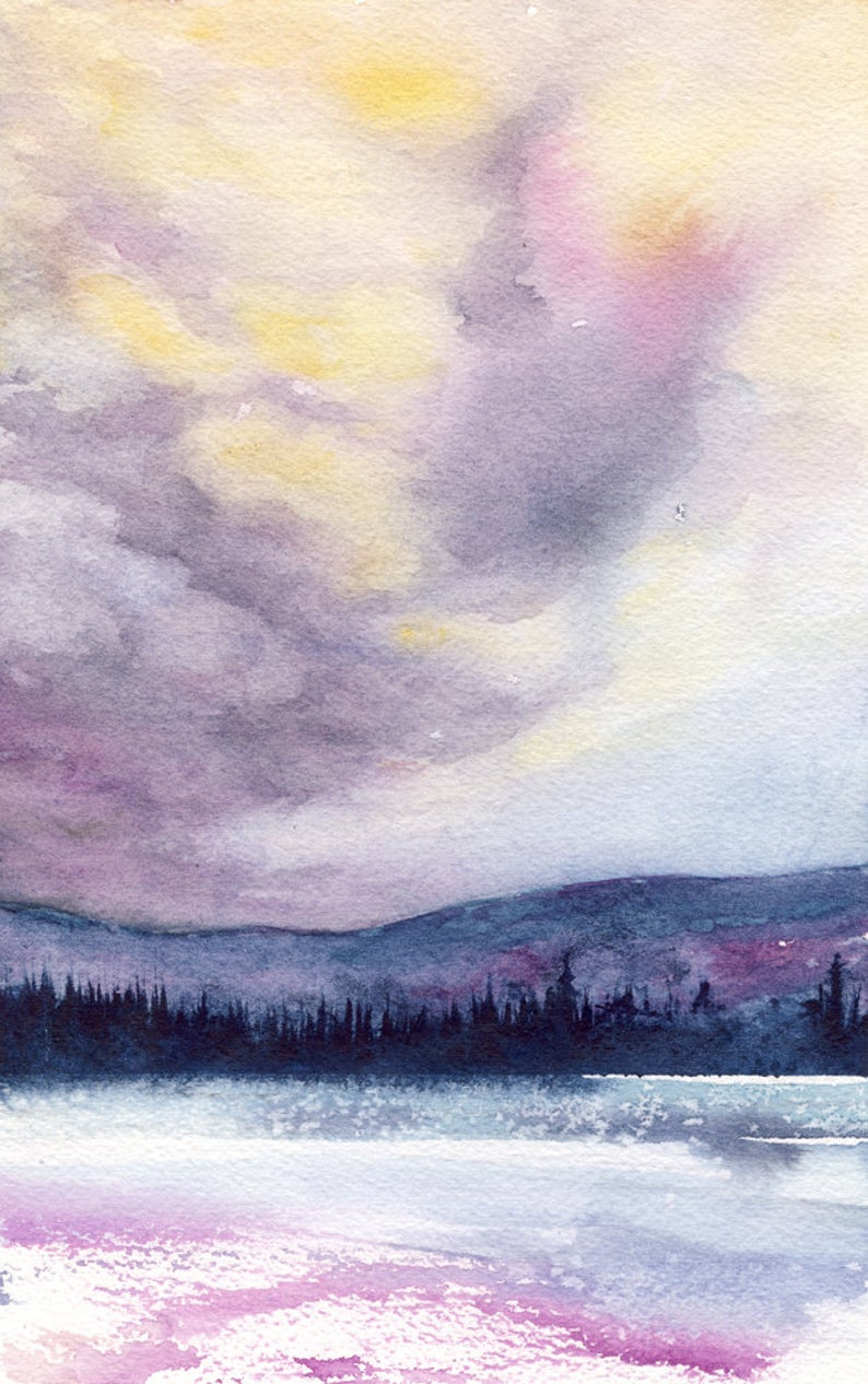 Indigo Dream Watercolor Landscape Painting - Scenic Art Print
