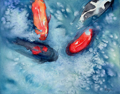 River Waltz - Koi Watercolor Painting
