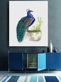 Watercolor Ink Painting - Peacock Bird Sumi-e - Japanese Brush Painting - Art Print - Brazen Design Studio