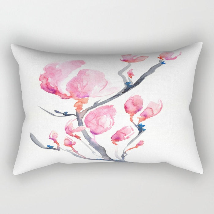 Decorative Pillow Cover - Japanese Magnolia - Floral Throw Pillow Cushion - Fine Art Home Decor - Brazen Design Studio