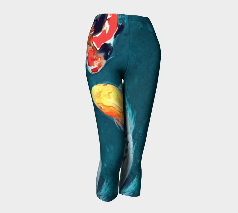 Designer Clothing - Koi Fish Painting - Artistic All Over Printed Leggings - Brazen Design Studio