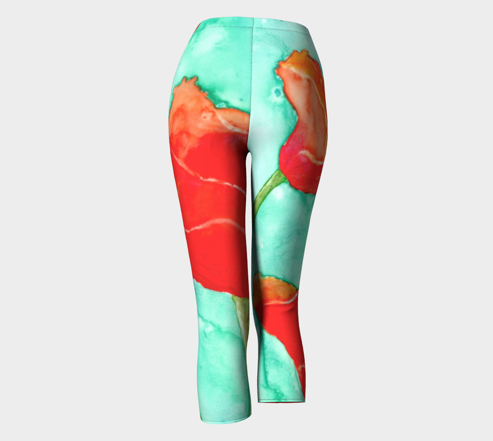 Designer Clothing - Red Poppy Painting - Artistic All Over Printed Leggings