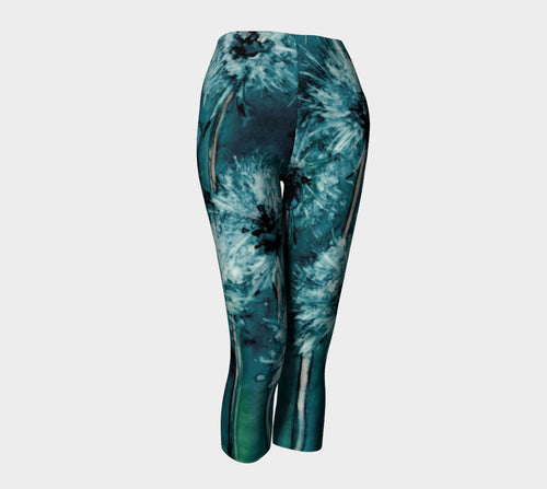 Designer Clothing - Dandelion Wishes Floral Painting - Artistic All Over Printed Leggings - Brazen Design Studio
