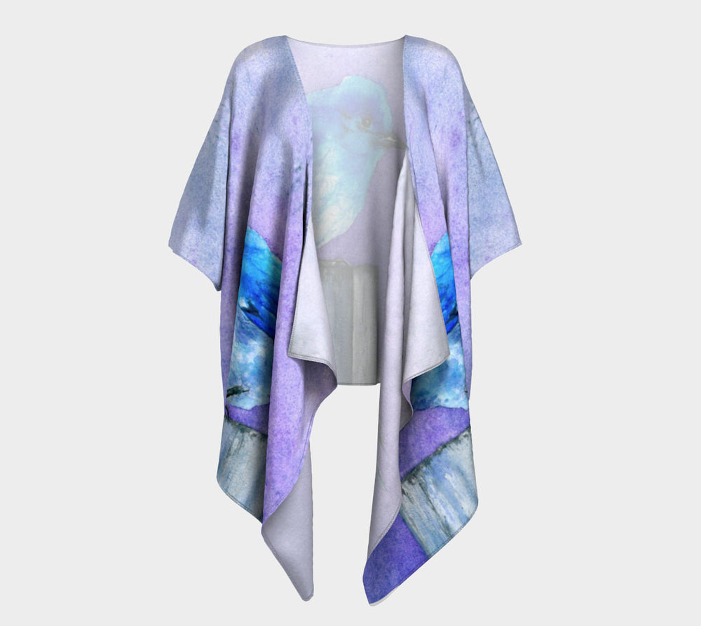 Draped Kimono - Bluebird Watercolour Painting - Designer Clothing - Brazen Design Studio