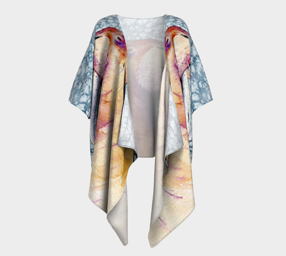Draped Kimono - Walrus Watercolour Painting - Designer Clothing - Brazen Design Studio