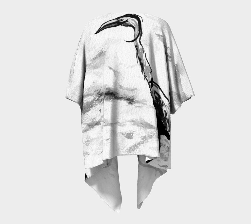 Draped Kimono - Crane Watercolour Painting - Designer Clothing - Brazen Design Studio