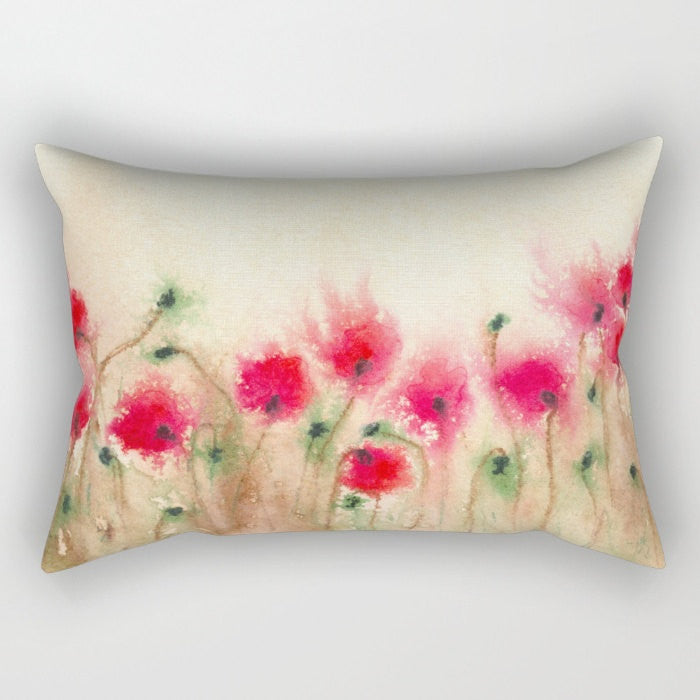 Decorative Floral Pillow Cover - Field of Poppies - Throw Pillow Cushion - Fine Art Home Decor - Brazen Design Studio